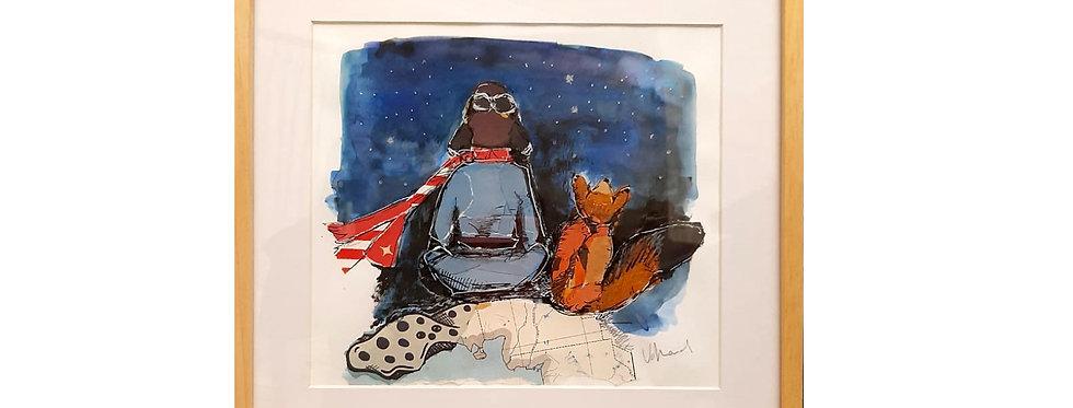 El principito y su zorro (Collage original)