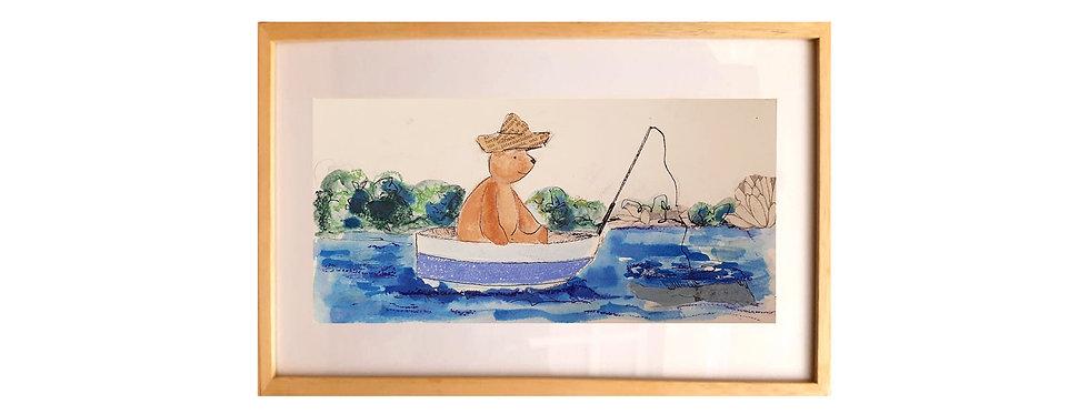 Oso pescando (Collage Original)