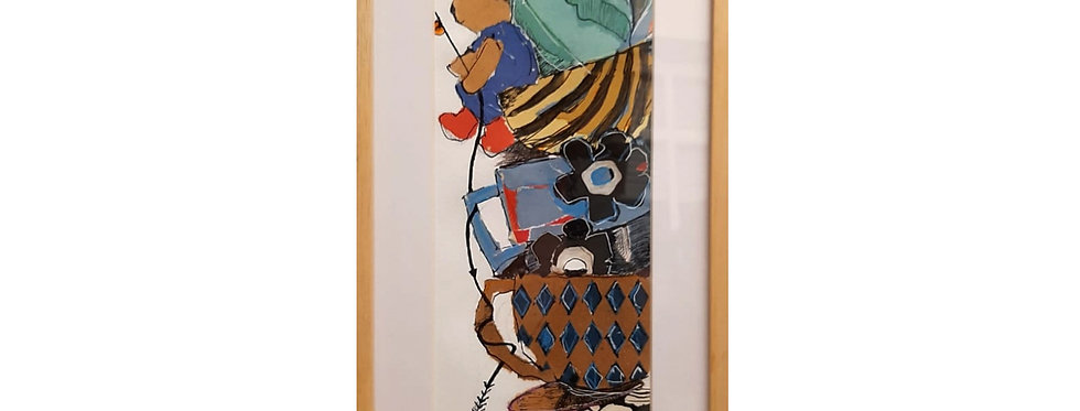 Oso en pila de tazas (Collage original)