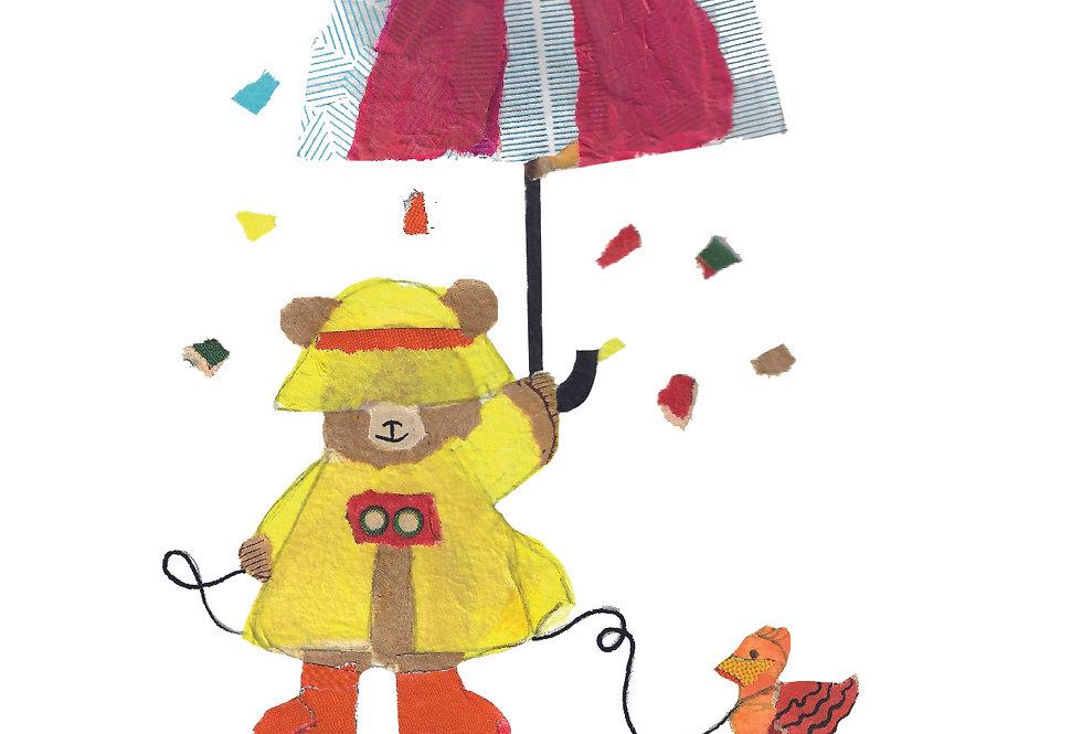 Oso en la lluvia (collage original)