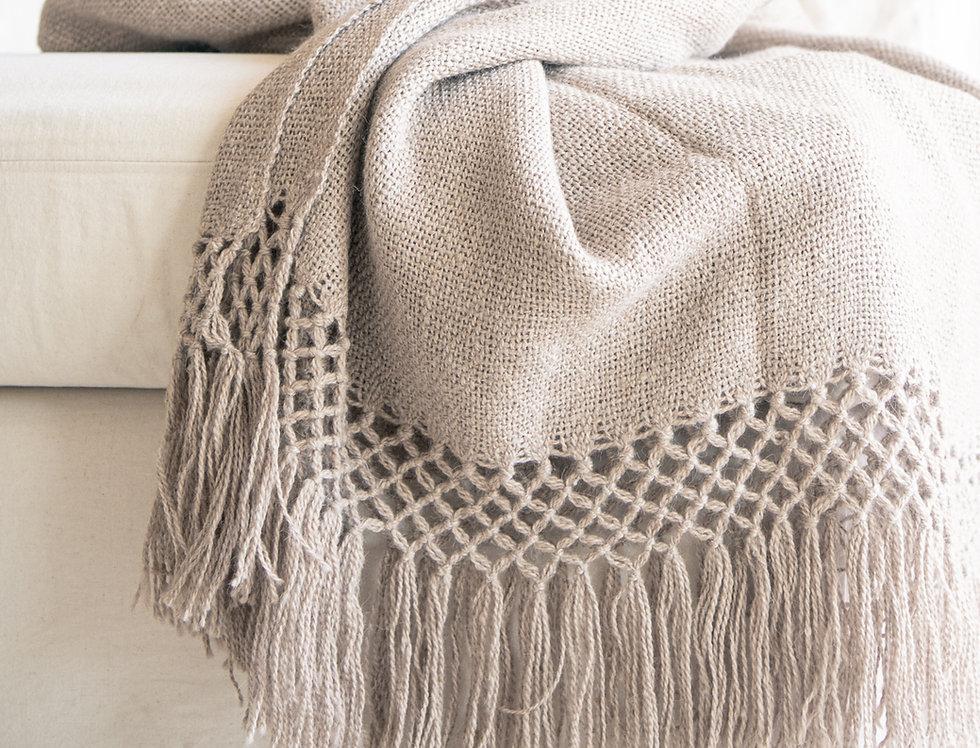 Pie de cama lana de llama (beige)