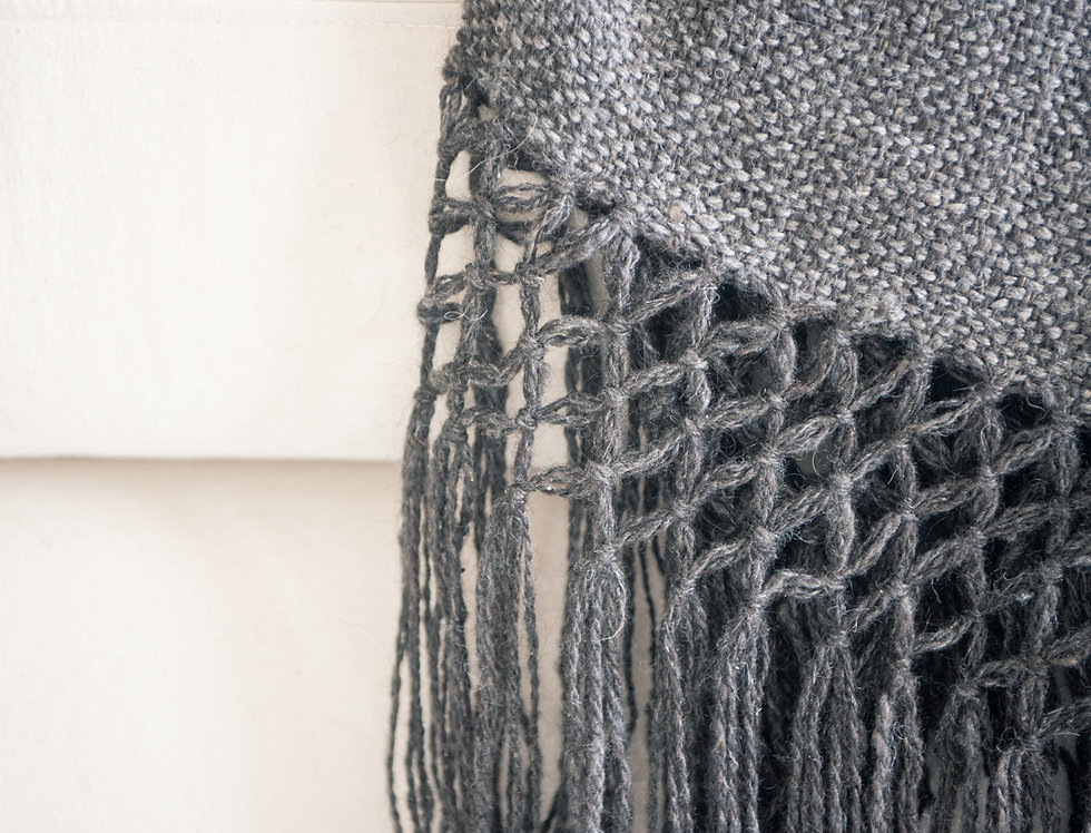 Pie de cama lana de llama (gris)