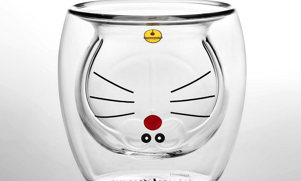 哆啦A夢雙層玻璃杯