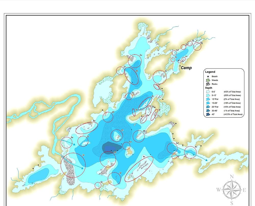 A fishing Map of Ogoki Lake in Nakina Ontario