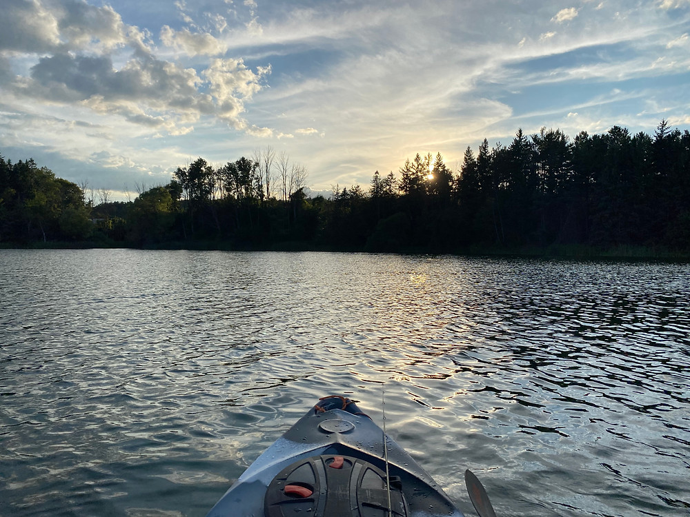 Kayak fishing near Mississauga, Ontario, Canada
