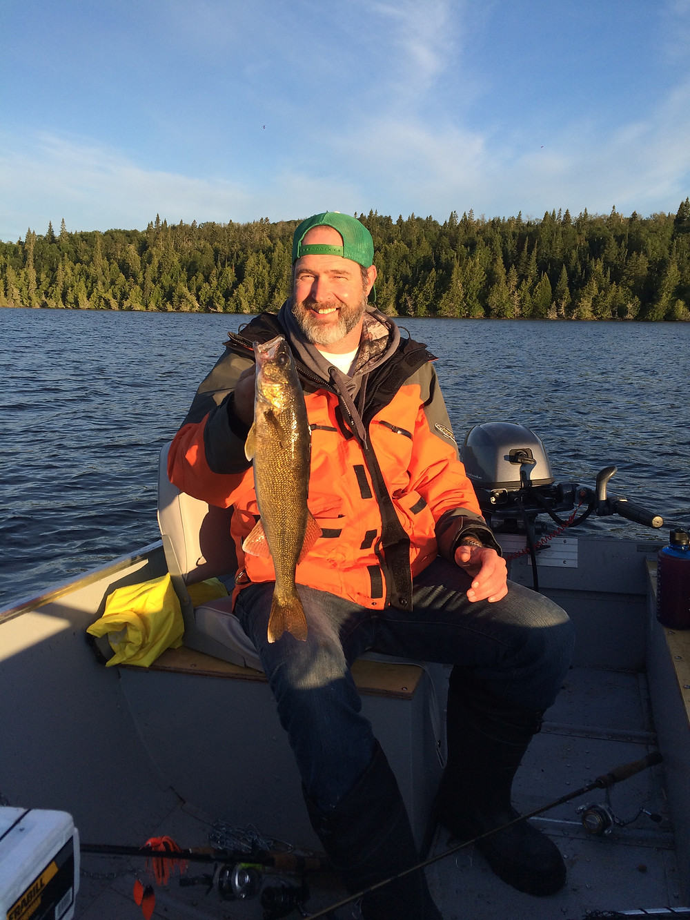 Pan sized walleye caught on a fly in fishing trip in the Algoma Region. Ontario, Canada