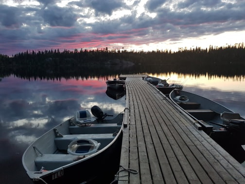 Sunset on a fly in fishing trip in Nakina, Ontario, Canada