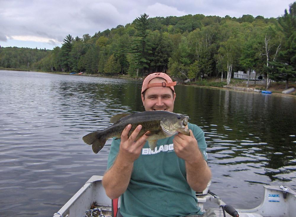 Nice largemouth bass caught in the Haliburton area of Ontario, Canada