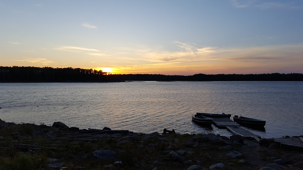 Beautiful sunset on Ogoki Lake a fly in fishing destination in Sunset Country Ontario