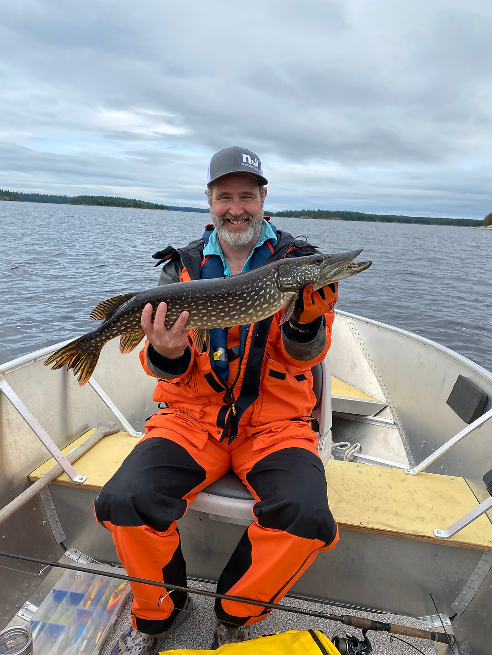 Nice pike caught on a fly in fishing trip in Northern Ontario, Canada