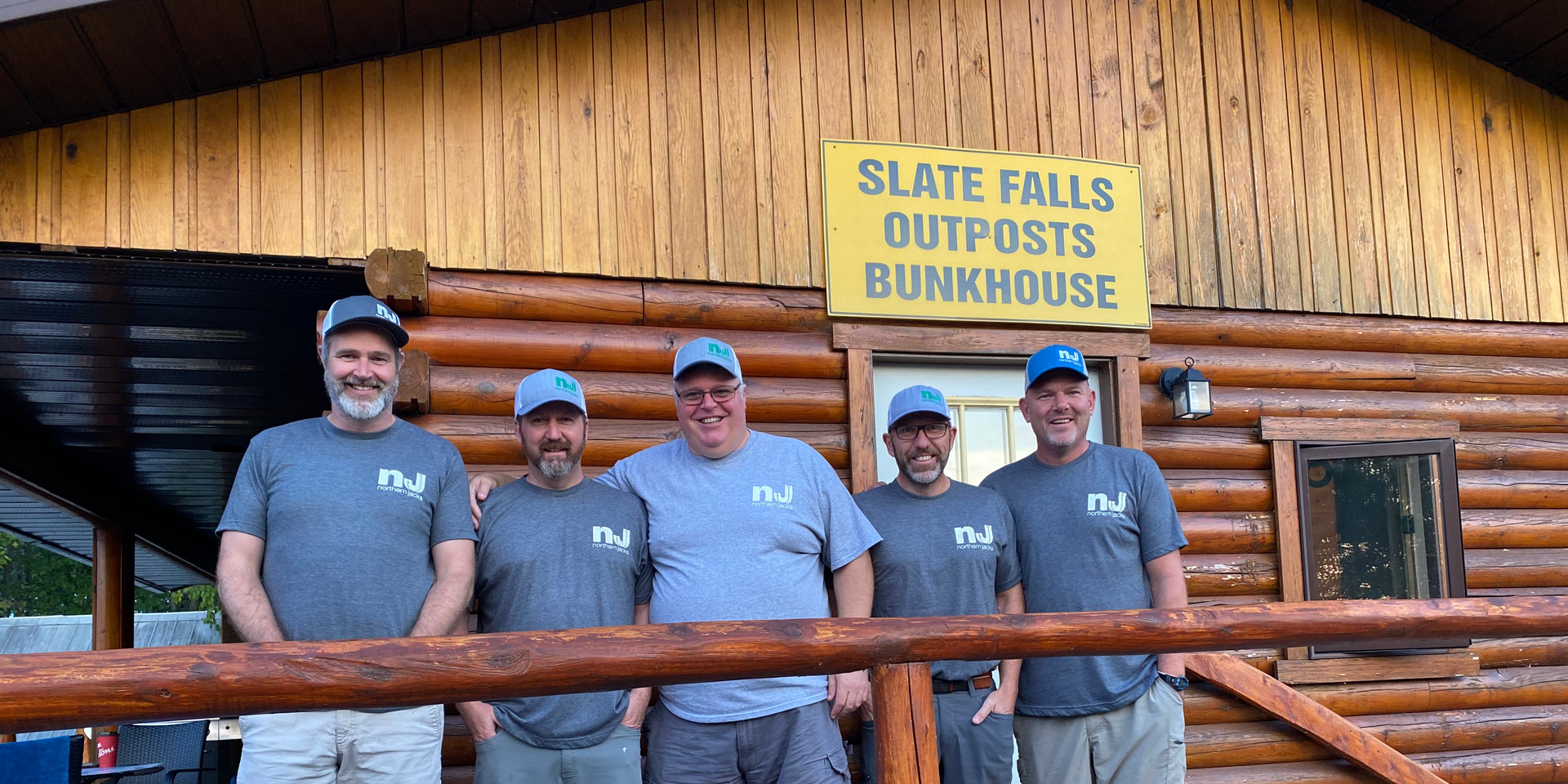 """The """"Northern Jacks 5"""" outside of the Slate Falls bunkhouse before our trip"""