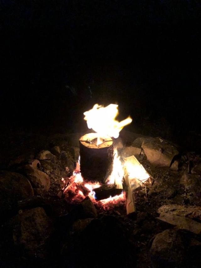 Campfire while walleye fishing in Northern Ontario, Canada