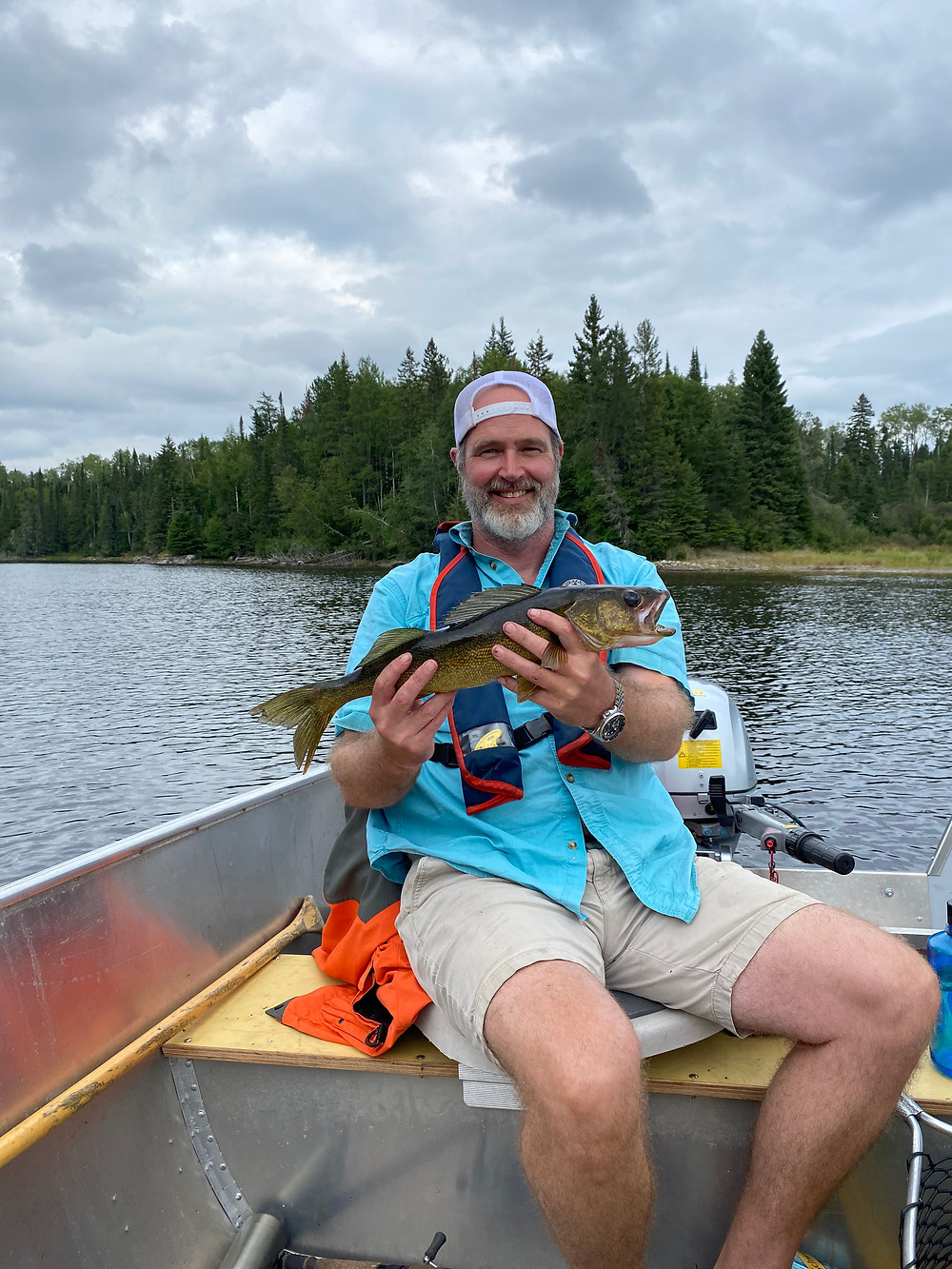 Nice walleye caught on a fly in fishing trip in Ontario, Canada