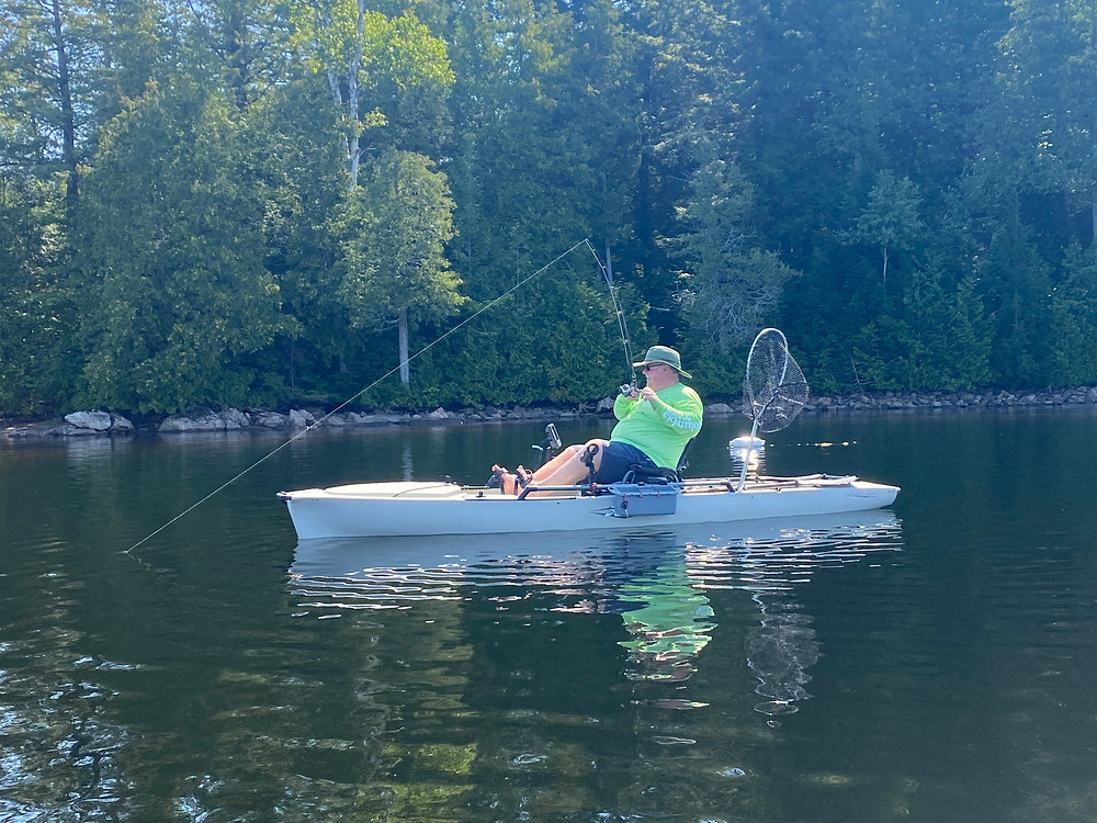 Kayak fishing in Haliburton, Ontario, Canda