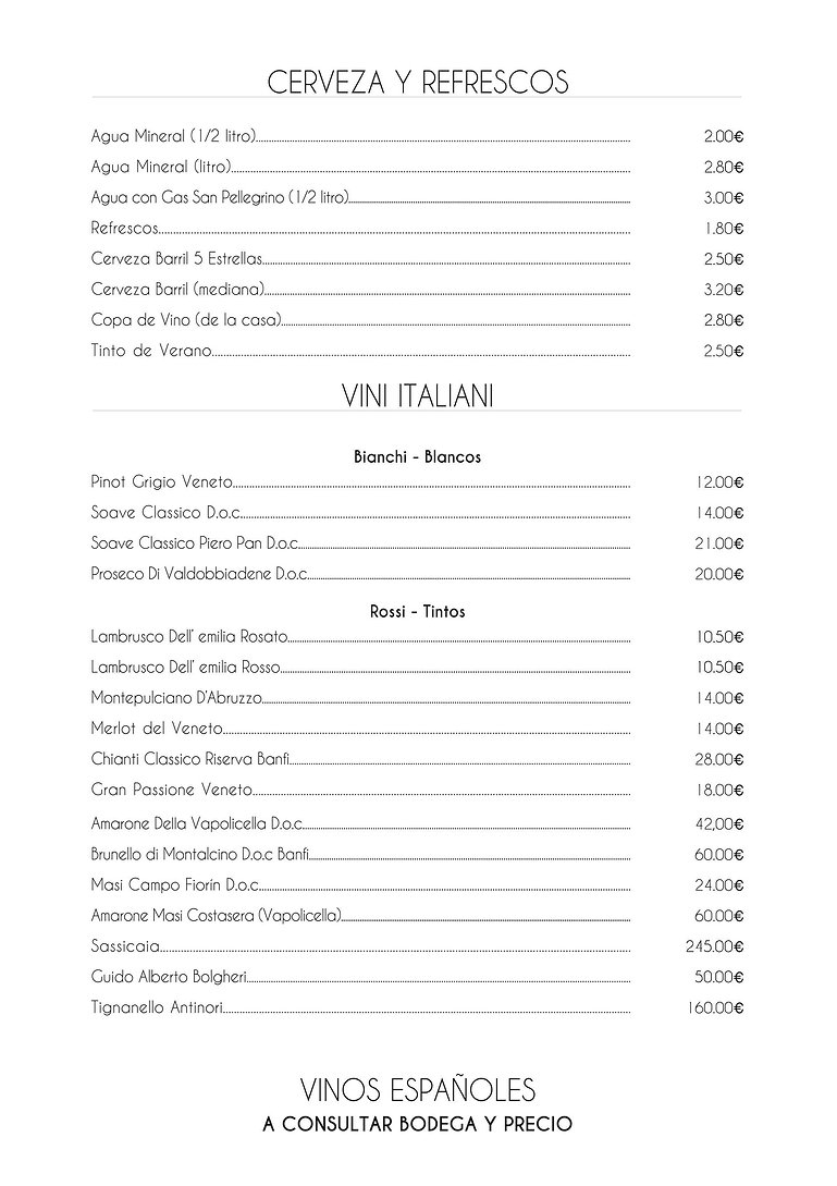 Carta Trattoria Pizzeria Soave