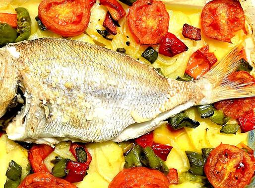 Urta con panaché de verduras salteadas