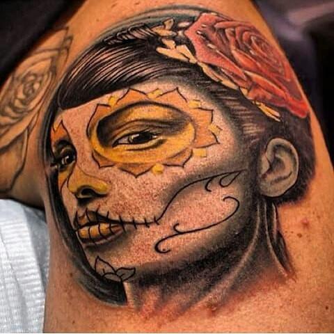 _tat2jreddragontattoo #tattoosbyj #sugarskulltattoo #sugarskull #diadelesmuertos