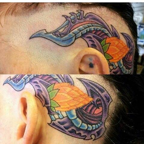 _niceguyeddie1076 #tattoosbynge #headtattoo #lotusflowerbud #bioorganic #bioorganictattoo