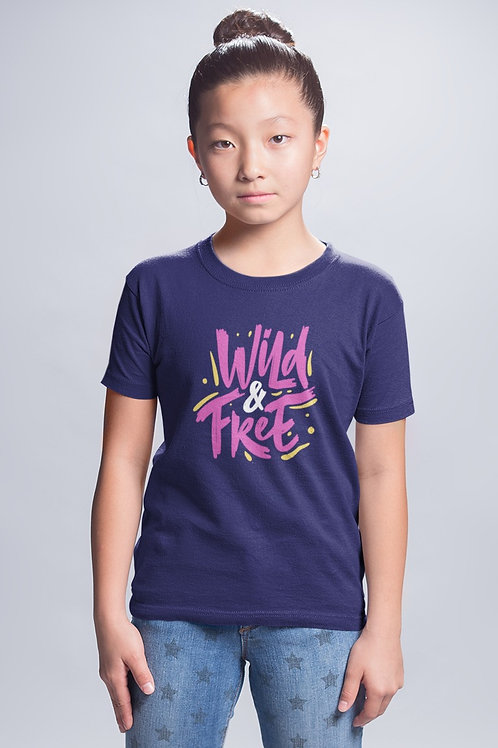 Girls Neon Wild & Free T-shirt
