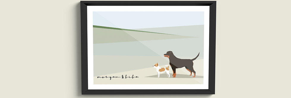 Country Dogs Framed Portrait (Multi-dog)