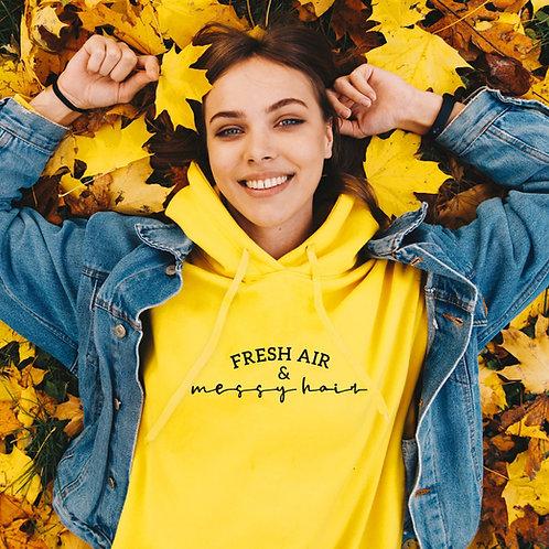 Fresh Air & Messy Hair Slogan Hoodie