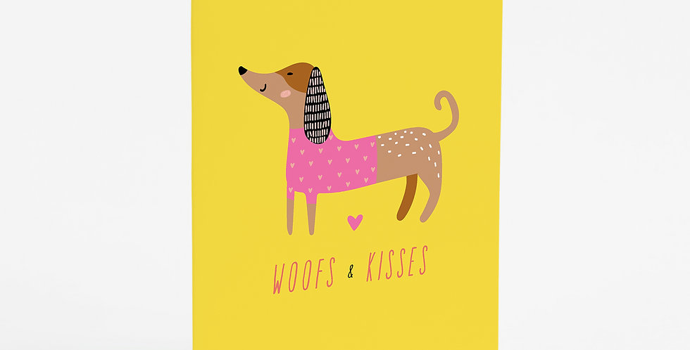 Woofs & Kisses (Bright) Card