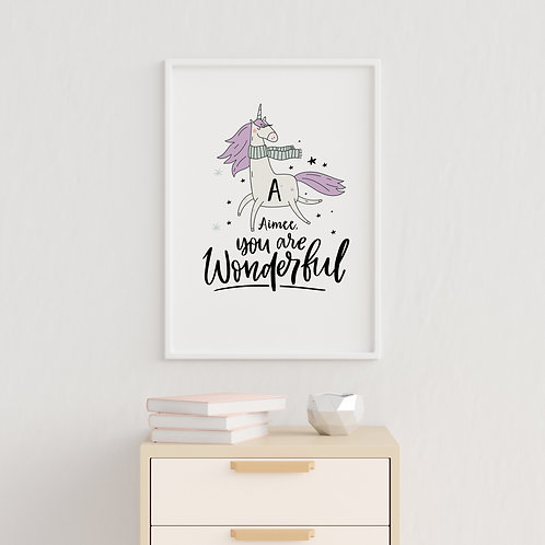 Magical Unicorn Initial Print for Girls