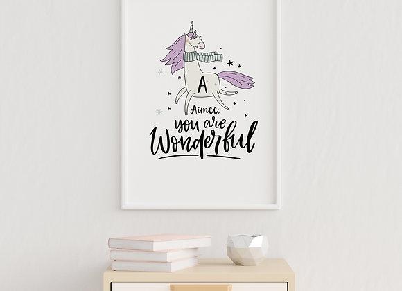 Magical Unicorn Initial Print for Girls