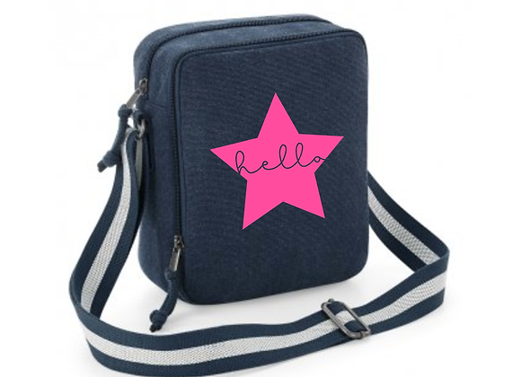 Hello Star Denim Messenger Bag