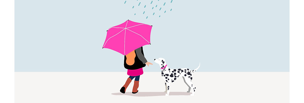 Girls Dog & Me Umbrella Framed Portrait (Single dog)
