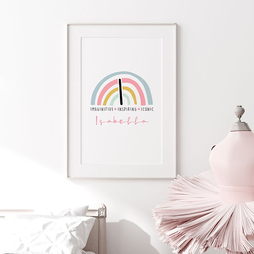 Positive Rainbow Initial Print for Girls