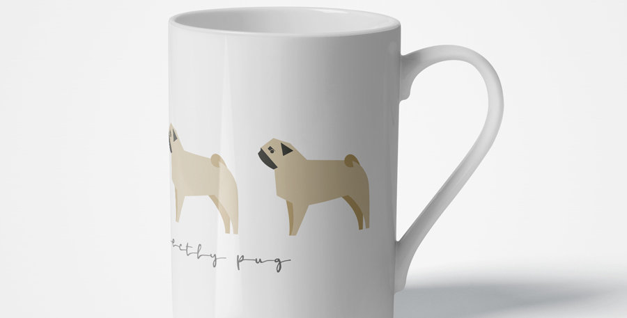 Trio Porcelain Mug - Perfectly Pug