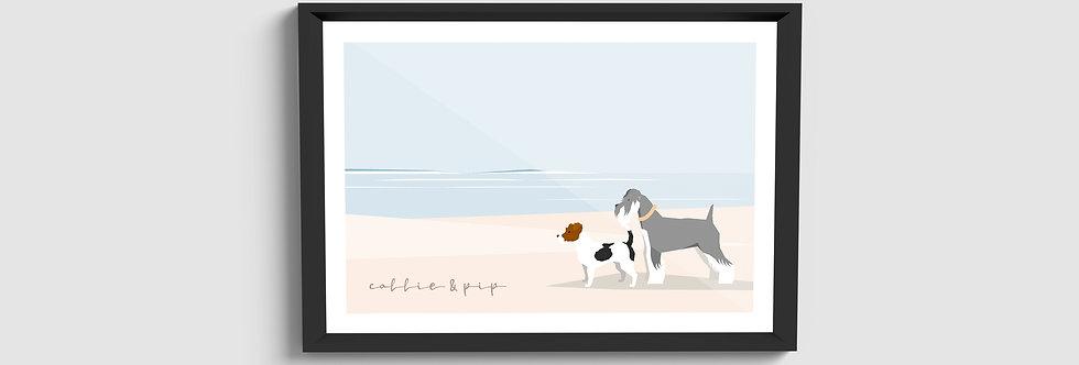 Beach Dog Framed Portrait (Multi-dog)