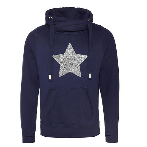 Navy Glitter Star Cowl Neck Hoodie