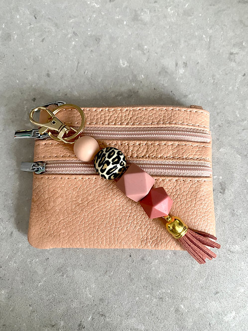 Rose & Leopard Keychain with Zip Purse