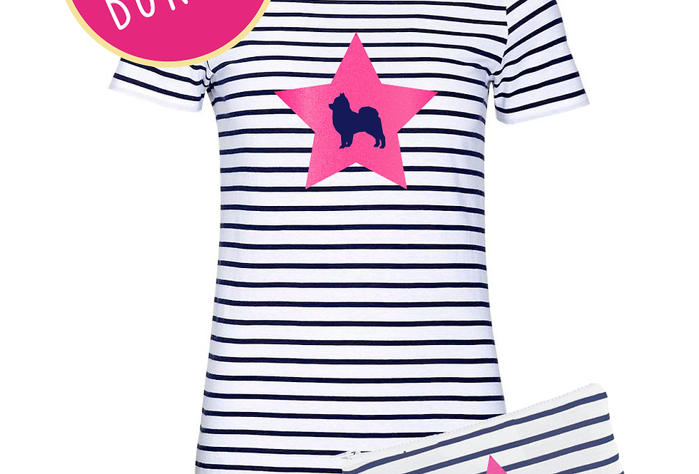 Star Pups Navy Stripe Tee and Jersey Bag ANY BREED