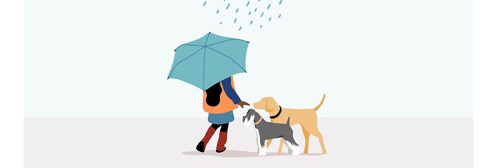 Girls Dog & Me Umbrella Framed Portrait (Multi-dog)