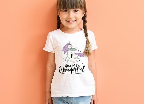 Magical Unicorn Initial Girls T-shirt