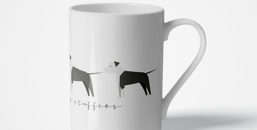 Trio Porcelain Mug - Sassy Staffies