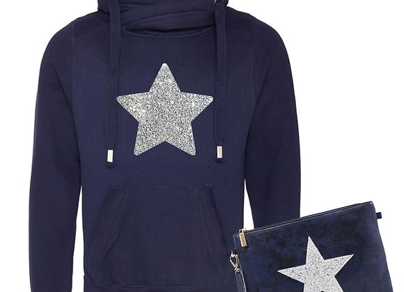 Glitter Star Cowl Neck Hoodie & Clutch