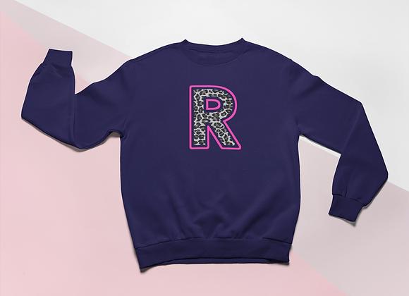 Kids Navy Leopard print Initial Sweatshirt
