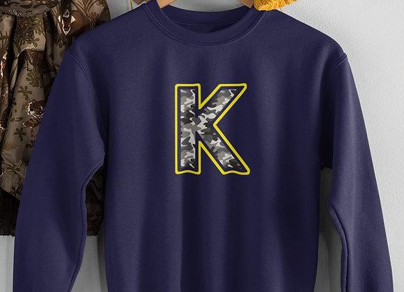 Navy Kids Camo print Initial Sweatshirt