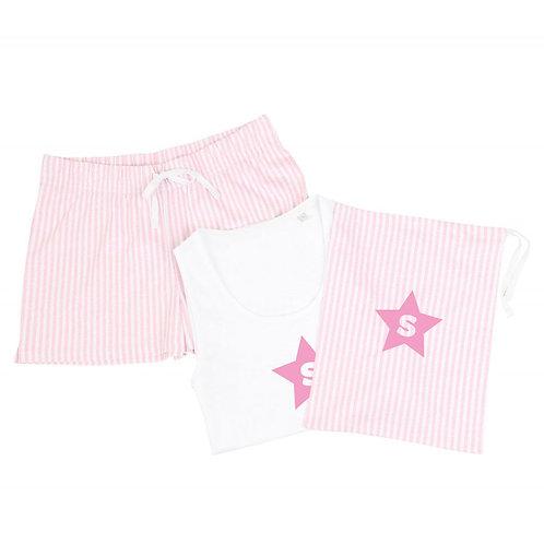 Personalised Pink Shortie PJ & Bag Set
