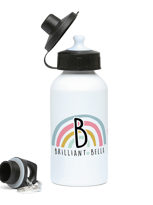 Positive Rainbow Initial Drinks Bottle for Girls