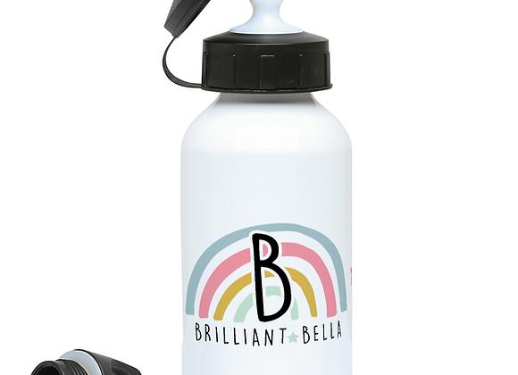 Positive Rainbow Initial Drinks Bottle for Girls