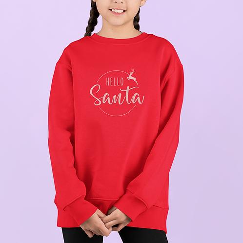 Girls Hello Santa Sweatshirt