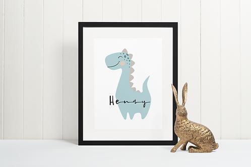 Dinosaur Print for Kids Room in Teal