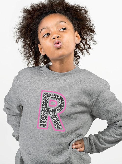 Kids Leopard print Initial Sweatshirt