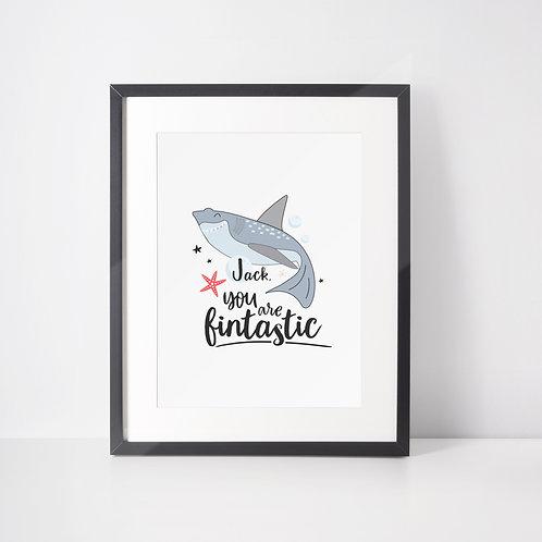 Fintastic Shark Initial Print for Boys
