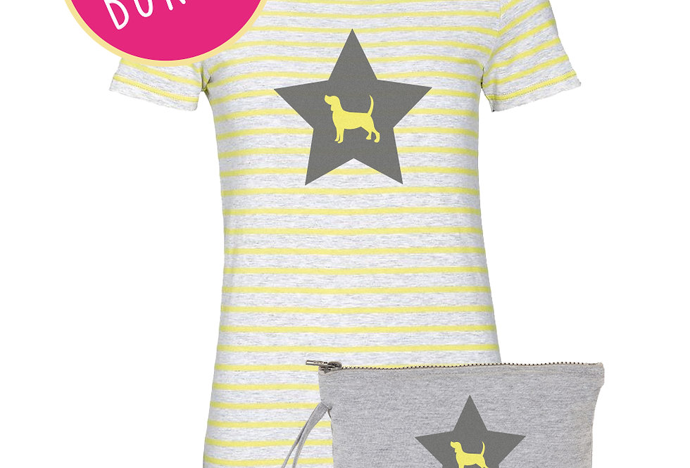 Star Pups Lemon Stripe Tee and Jersey Bag ANY BREED